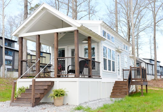 A model home at the Lake Walk Tiny Home Community in Greer.