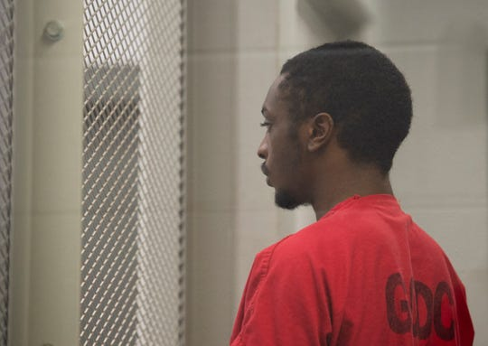 Deltravious Howard stands during his bail hearing at the Greenville County Detention Center Wednesday, April 24, 2019.