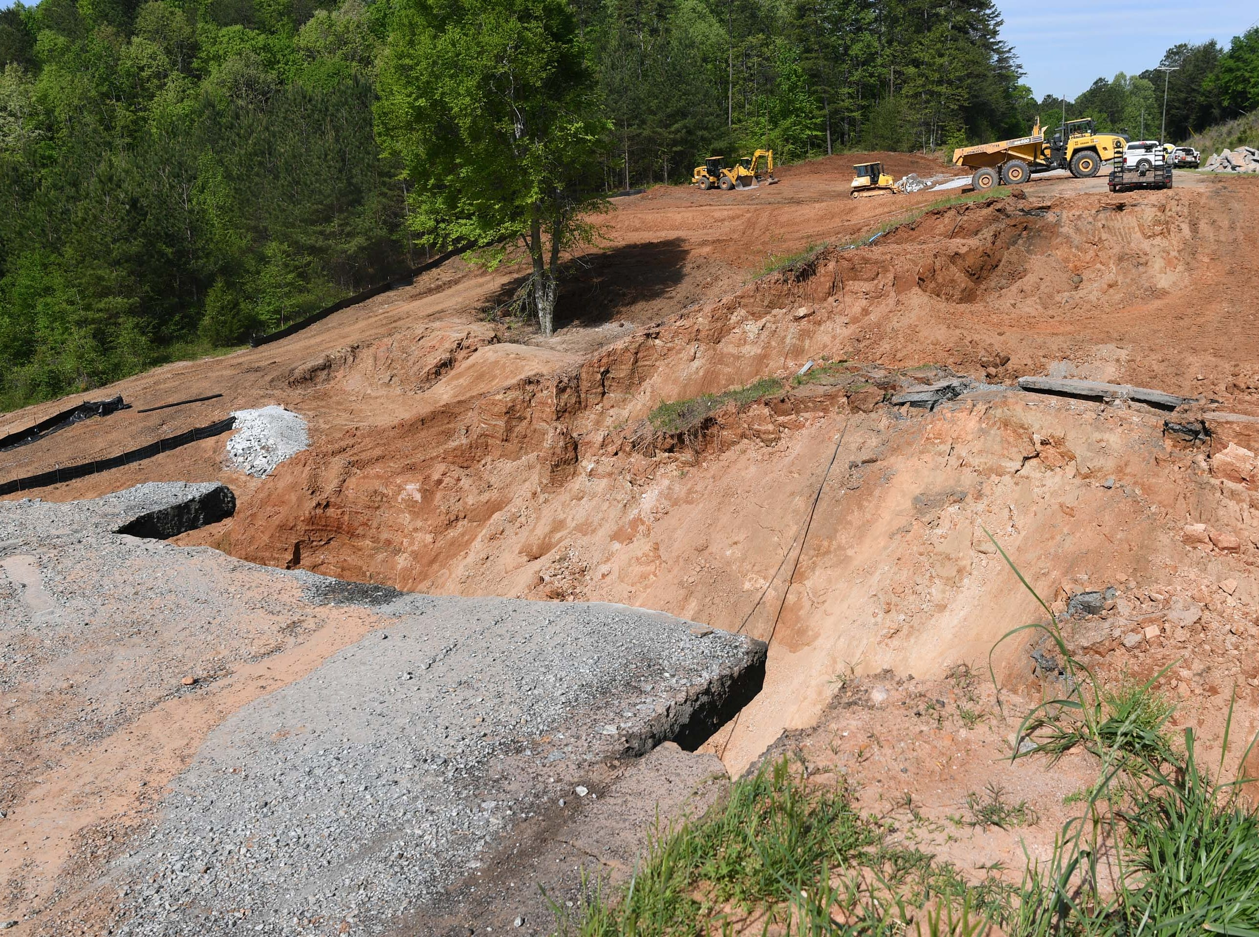 SCDOT construction crew are working on repairing a section of State Highway 123 outside of Westminster Wednesday.