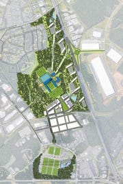 This is a site plan for one of the Carolina Panther's location for new headquarters in York County.
