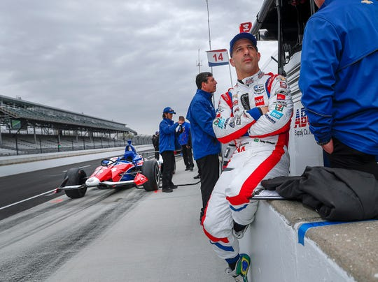 A.J. Foyt Enterprises driver Tony Kanaan sits on put wall during testing for the Indianapolis 500 at the Indianapolis Motor Speedway on Wednesday, April 24, 2019.