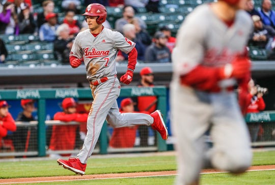 Indiana University Hoosiers outfielder Matt Gorski (7), heads for home plate during a game between the Indiana University Hoosiers and Ball State Cardinals, at Victory Field in Indianapolis on Tuesday, April 23, 2019.