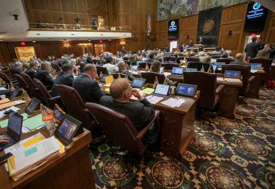 The House or Representatives during the final scheduled day of the legislative session, Indiana Statehouse, Indianapolis, Wednesday, April 24, 2019.