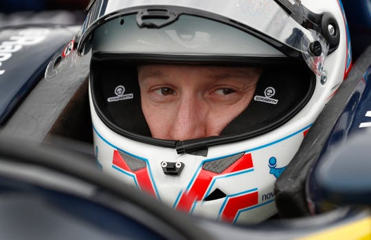 Newly-announced driver for A.J. Foyt Racing Charlie Kimball sits in his car during testing for the Indianapolis 500 at the Indianapolis Motor Speedway on Wednesday, April 24, 2019.