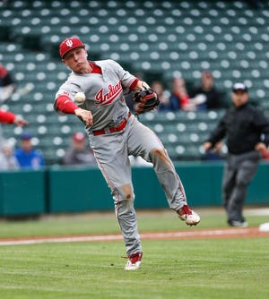 Indiana's Cole Barr, a former Yorktown star, throws to first against Ball State at Victory Field in Indianapolis on Tuesday, April 23, 2019.