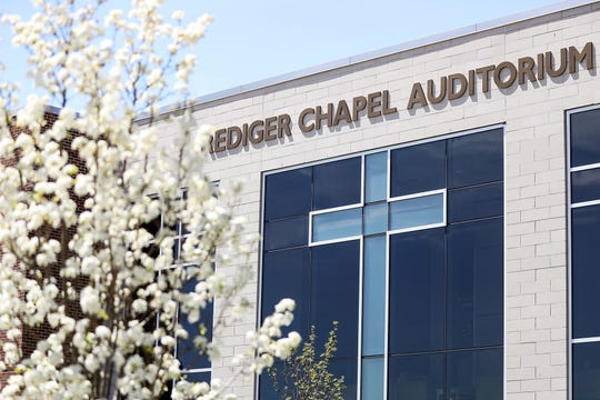 The Rediger Chapel Auditorium is seen at Taylor University in Upland, Ind., Monday, April 22, 2019.