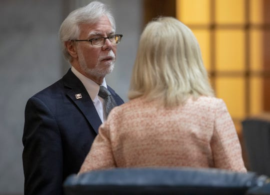 Tim Lanane, Democratic Senator, during the final scheduled day of the legislative session, Indiana Statehouse, Indianapolis, Wednesday, April 24, 2019.