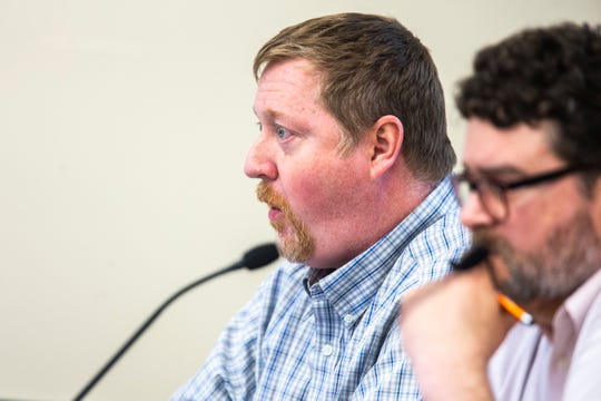 Shawn Eyestone speaks during a school board meeting, Tuesday, April 23, 2019, at the Iowa City Community School District (ICCSD) offices in Iowa City, Iowa.