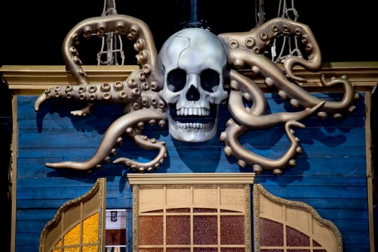 An octopus skull adorns one of the pirate ships at Dolly Parton's Pirates Voyage in Pigeon Forge, Tennessee on Wednesday, April 24, 2019. The $9 million, 30,000 square foot arena features three pirate ships, an indoor water stage and a cast of two dozen aerialists, divers, dancers and singers. The show is slated to open May 24 with a grand opening June 7.