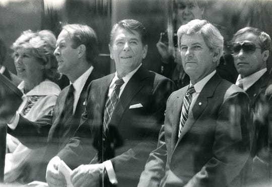 World's Fair opening day, may 1, 1982. Pictured are Dinah Shore, Gov. Lamar Alexander, President Ronald Reagan and Jake Butcher.