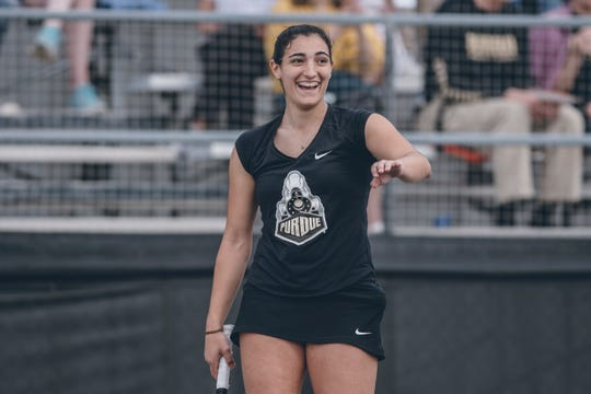 Senior Silvia Ambrosio plays at No. 1 singles for Purdue