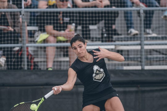 Senior Silvia Ambrosio plays No. 1 singles at Purdue