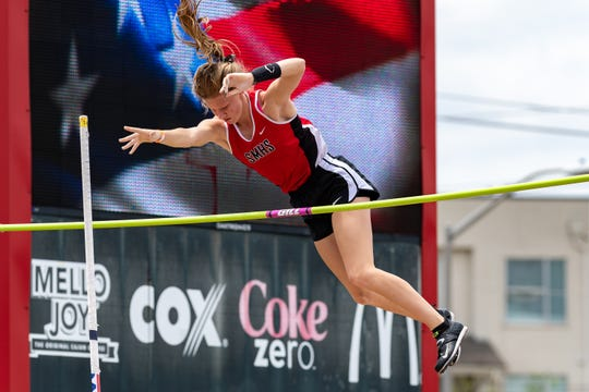 Heather Abadie pole vaulting at the LHSAA Region II-4A Track Meet at UL. Wednesday, April 24, 2019.