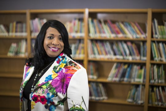 This Wednesday, April 18, 2018 photo shows Carlotta Outley Brown, who was then the principal at Peck Elementary School located in southeast Houston. Outley Brown took over as principal at James Madison High School during the current school year, becoming the school's fourth principal in five years. Outley Brown has implemented a dress code for parents because she says it is necessary to establish high standards for students, despite criticism that the move could be discriminatory.