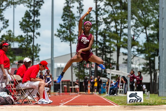 Brianna Anthony competing in the girls long jump at the LHSAA Region II-4A Track Meet at UL. Wednesday, April 24, 2019.