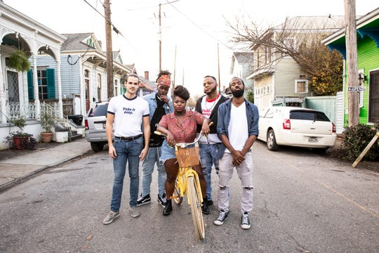 "Tank and the Bangas, a band that fits no certain definition, are performing at Festival International on Friday. Tank and the Bangas includes, from left, Albert Allenback, Joshua Johnson, Tarriona ""Tank"" Ball, Merell Burkett and Norman Spence."
