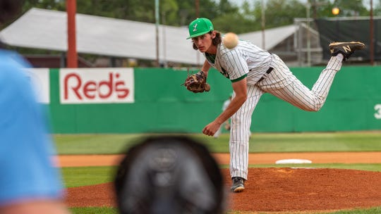 Lafayette High Starting pitcher Tyler Leblanc allowed five runs (two earned) on four hits and five walks, while striking out six in five and one-third innings in the Mighty Lions' 6-5 loss to No. 26 St. Amant in the bi-district round of the Class 5A playoffs.