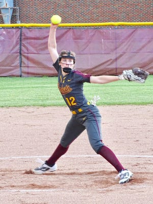 Berne Union freshman Abbie Hintz gets set to fire a pitch against Grove City Christian in a Mid-State League-Cardinal Division game on Tuesday. Hintz threw a no-hitter in the Rockets' 15-0 win.