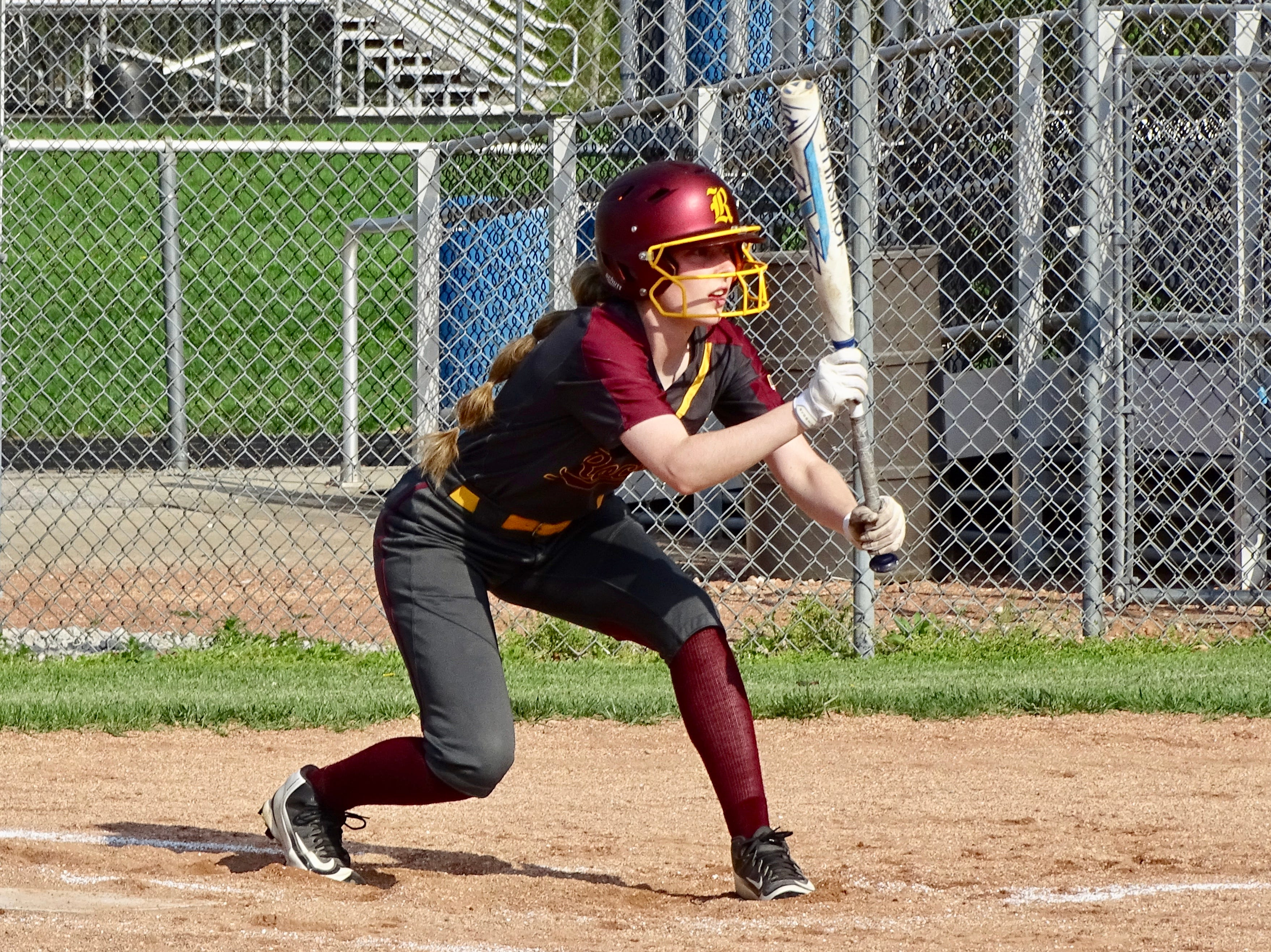 Berne Union's Macie Staten gets set to bunt during the Rockets' game against Grove City Christian on Tuesday.