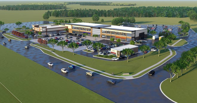 A conceptual rendering shows what proposed retail, office, restaurant and storage unit buildings could look like, if a potential plan to redevelop 5 acres at 4525 E. Grand River Ave. in Genoa Township comes to fruition.