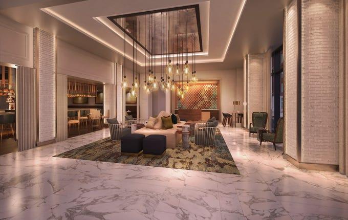 Hotel Distil Lobby rendering.