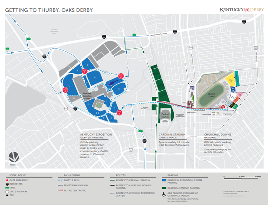 Parking for Thurby, Kentucky Oaks and Kentucky Derby 2019 at and around Churchill Downs.