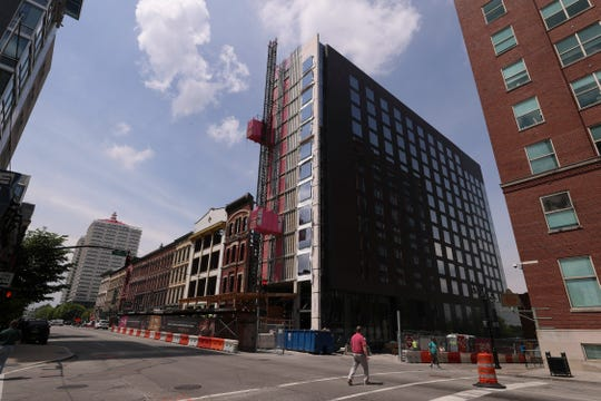 The new Hotel Distil and Moxy Louisville Downtown on Main Street. Apr. 24, 2019