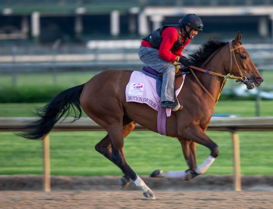 Kentucky Oaks hopeful Motion Emotion trains at Churchill Downs. April 24, 2019