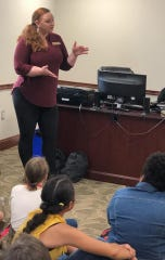 Berea City Council member Emily LaDouceur said this photo of her giving Berea Community Elementary School students a tour of Berea City Hall in early April received comments from people critical of her choice of leggings and her appearance.