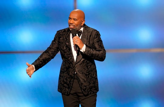 Steve Harvey speaks at the 8th Annual NFL Honors at The Fox Theatre on Saturday, Feb. 2, 2019, in Atlanta. (Photo by Paul Abell/Invision for NFL/AP Images)