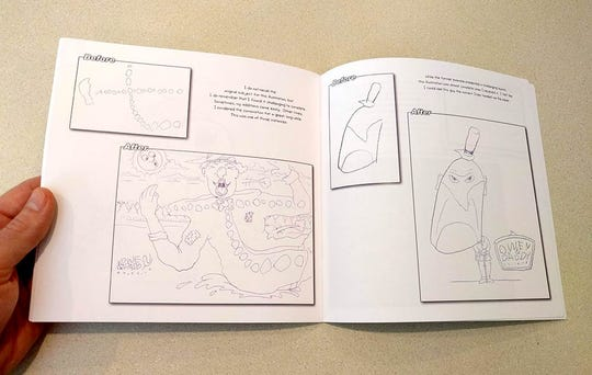 """A page from Ryan Claytor's comic book, """"Owen and Daddy."""" The book documented a project the MSU professor undertook with his then-four-year-old son. Claytor would outlined different letters and objects like race cars his son liked while Owen doodled. The two would then trade papers and compete each other's drawings."""