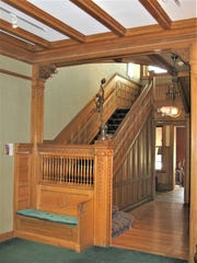 Inside the Vilas-Rahr Mansion in Manitowoc. All woodwork trim was golden oak, quarter-sawn, and the floor, of the same material, was bordered in a simple parquet design.