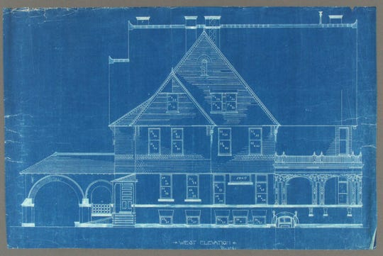 West view blueprints by Milwaukee architects George Ferry and Alfred Clas for what is now the Vilas-Rahr Mansion in Manitowoc.