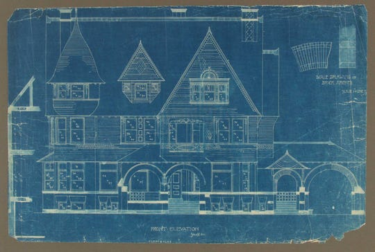 Front view blueprints by Milwaukee architects George Ferry and Alfred Clas for what is now the Vilas-Rahr Mansion in Manitowoc.