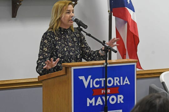Victoria Norris-Diez looks for support Wednesday afternoon as she speaks during the Richland County Democratic Party's weekly luncheon.