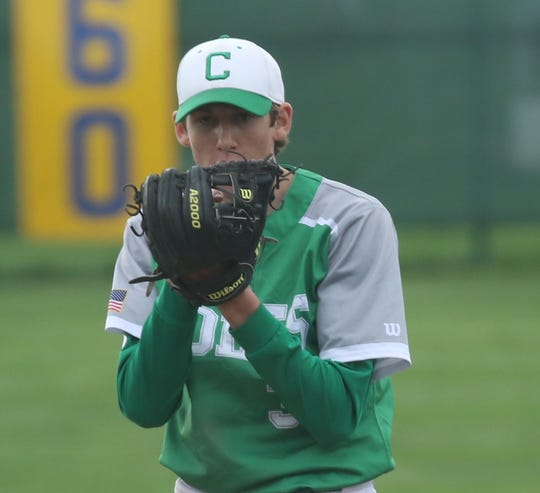 Clear Fork's AJ Blubaugh looks in for the sign from his catcher during the Colts' game at Ontario on Tuesday.