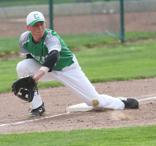 Clear Fork's Dylan Jewell picks a throw at third during the Colts' tough loss to Ontario on Tuesday.