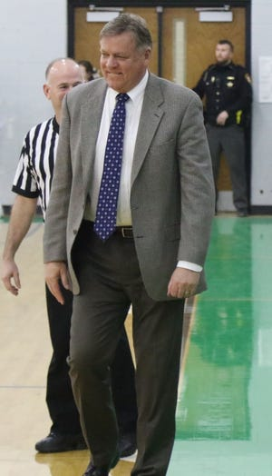 Ontario boys basketball coach Joe Balogh enters the Ohio High School Basketball Coaches Association Hall of Fame in 2019.