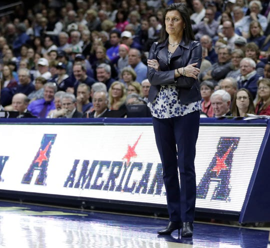 Feb 25, 2017; Storrs, CT, USA; Memphis Tigers head coach Melissa McFerrin watches from the sideline as they take on the Connecticut Huskies in the second half at Harry A. Gampel Pavilion. UConn defeated Memphis 91-48.