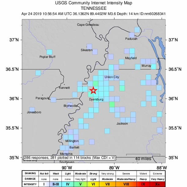 3.6 magnitude earthquake in Dyersburg felt in Memphis, Jackson