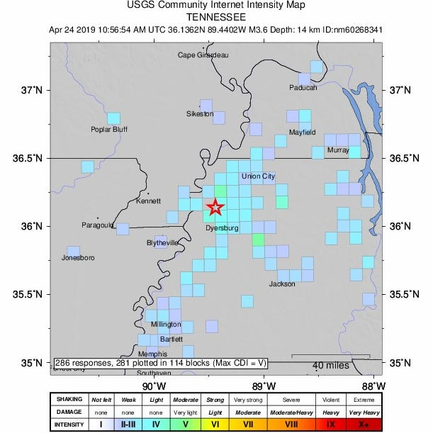 3.7 magnitude earthquake in Dyersburg felt in Memphis, Jackson