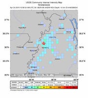 U.S. Geological Survey intensity map of a magnitude 3.6 earthquake that shook West Tennessee on April 24, 2019
