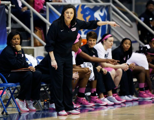 Memphis head coach Melissa McFerrin instructs her players while they compete against Louisville in the first half of an NCAA college basketball game, Sunday, Feb. 16, 2014, in Memphis, Tenn.