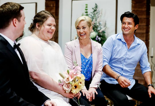 """Singer and actress Kellie Pickler (second right) and actor Wes Brown (right) take part in an interview with couple Trey Fox and Julie Lighty, who got married during break in filming of the Hallmark's movie """"Wedding at Graceland,"""""""