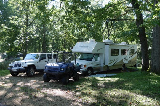 Kathy Lenz and Bob Heft set up their motor home in Wyalusing State Park every September while they work there as campground hosts.