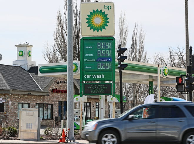 The price of a gallon of regular gasoline has topped $3 Wednesday morning at this BP station at 350 N. Plankinton Ave. in Milwaukee.
