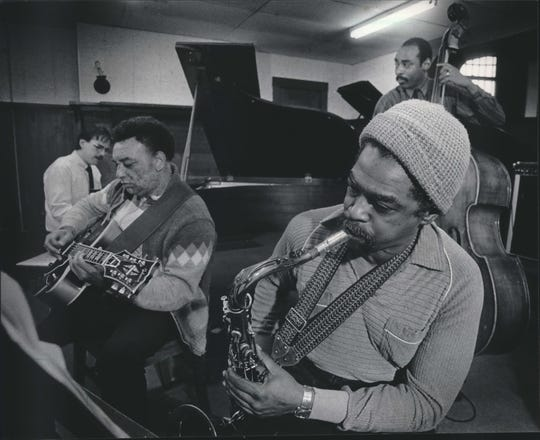 Manty Ellis (on guitar) performs with jazz faculty at the Wisconsin Conservatory of Music in 1986, including former protege David Hazeltine on piano. Hazeltine is one of the most recorded jazz pianists of our time, and will be performing at a tribute concert for the 86-year-old Ellis Saturday.