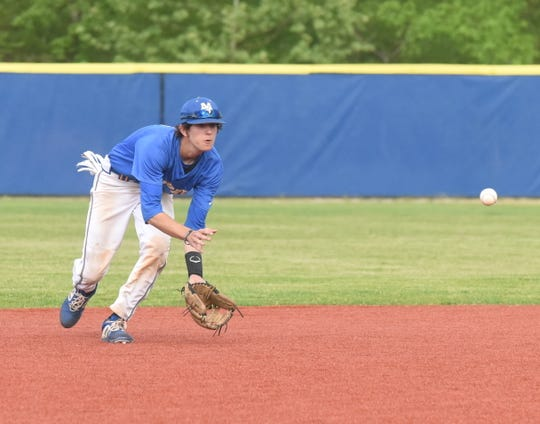 Mountain Home shortstop Josh Prinner fields a ground ball against Marion on Tuesday.