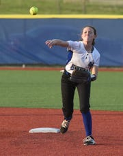 Mountain Home shortstop Emily Payne throws to first for an out against Marion on Tuesday.