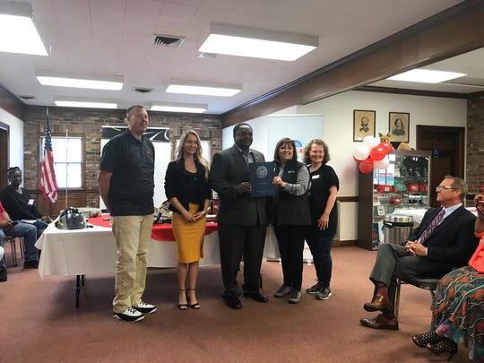 Monroe Mayor Jamie Mayo presented representatives from the American Red Cross with a proclamation for Sound the Alarm.